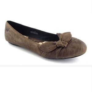 BORN Brown Bow Leather Ballet Flats 7.5